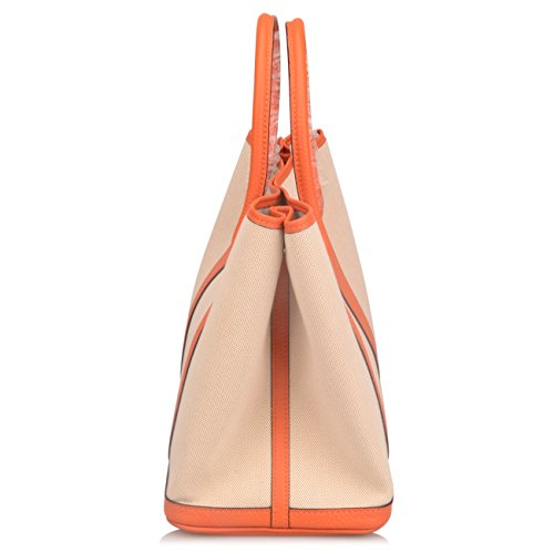 Ainifeel Women's Genuine Leather Top Handle Handbag Shopping Bag Tote Bag (Orange(leather+canvas)) by Ainifeel (Image #4)