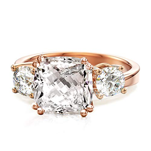 Samie Collection Meghan Markle Engagement Rings Inspired by Royal Wedding: 3.67ctw 3 Stone Cubic Zirconia & Simulated Gemstone Promise Ring: 18K Yellow Gold, 18K Rose Gold & Rhodium Plating, Size 5-10
