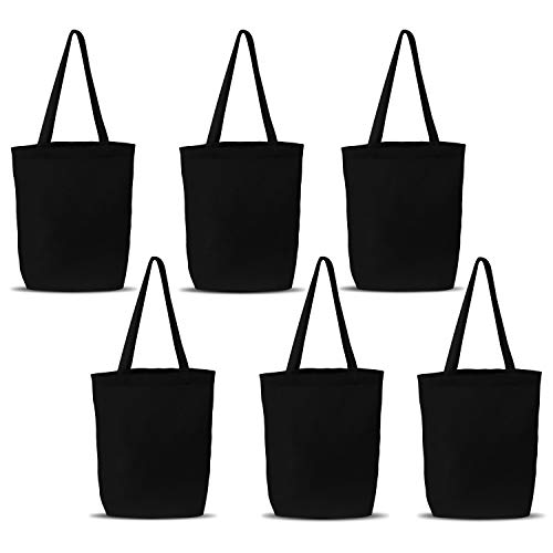 Insternet black canvas tote bags reusable canvas bags for crafts, decorating, plain, grocery, shopping (6 ()