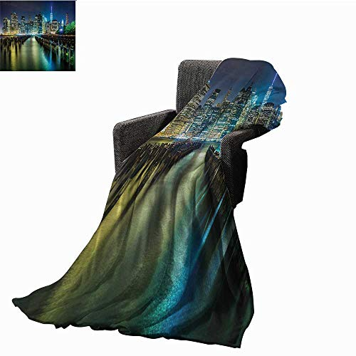 haommhome New York Faux Fur Throw Blanket Pier Pilings and Manhattan Skyline at Night Downtown Urban East River Ultra Soft and Warm Hypoallergenic 60