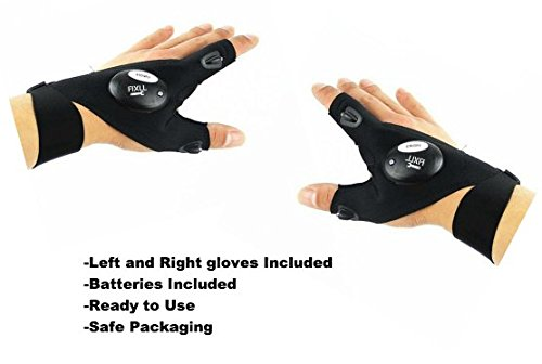 FIXLL LED Flashlight Gloves Pair Adult Outdoor Pack Left and Right Fishing Camping Repairs Biking
