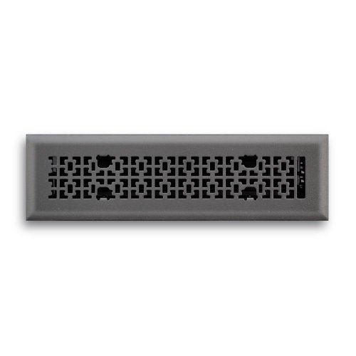 Truaire C166-VMB 02X12(Duct Opening Measurements) Decorative Floor Grille 2-Inch by 12-Inch Vintage Victorian Floor Diffuser, Matte Black Finish Black Victorian Register