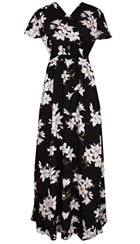 Hawaiian Dress Code For Parties (Women Black Summer Dress Maxi Plus Size Graduation Chiffon Gift Long Sleeveless Sexy Floral Sundress (3X, Black/White)