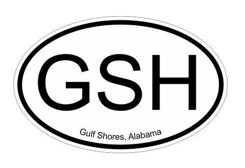 GSH Gulf Shores Alabama oval Vinyl Decal Sticker Alabama Oval Sticker Decal