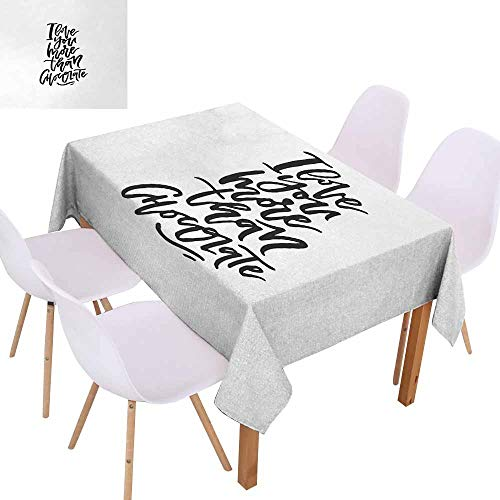 (UHOO2018 I Love You More,Dust-Proof Tablecloth,Romantic Hand Drawn Lettering Black and White Design Chocolate Phrase,for Weddings, Banquets, or Restaurants,Black White,50
