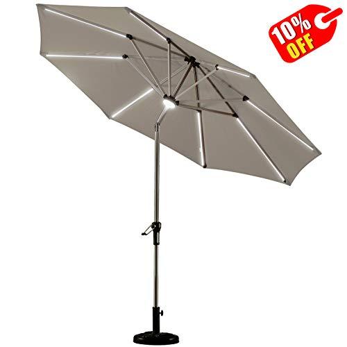 PURPLE LEAF 9 Feet Solar Powered LED Lighted Patio Umbrella with Push Button Tilt and Crank Outdoor Market Umbrella Garden Umbrella, Khaki (With 10 Patio Umbrella Ft Lights)