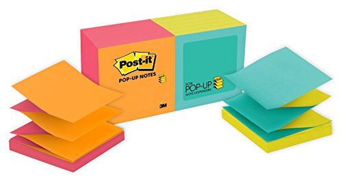 Mailers Canary - Post-it Pop-up Notes, Green, Blue, Yellow, Purple, Orange, Unique Adhesive Designed for Paper, Accordion-style Sticky Notes for Dispensers, 3 in. x 3 in, 12 Pads/Pack, (R330-N-ALT)