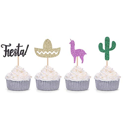 24 Counts Fiesta First Birthday Cupcake Toppers Cactus Llama Sombrero Decors Mexican Theme Party Picks
