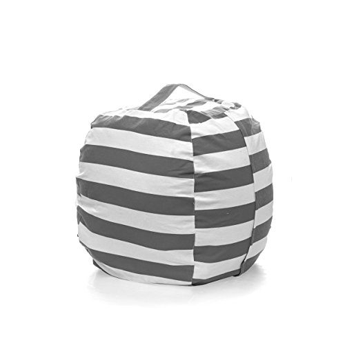 Gray Chair Bag Bean (PJS-MAX Storage Bean Bag Chair for Kids - Stuffed Animal Chair Storage Bag, Jumbo Size Perfect for Soft Toys, Clothes, Blankets. 5 Colors Available (Gray, Extra-large))