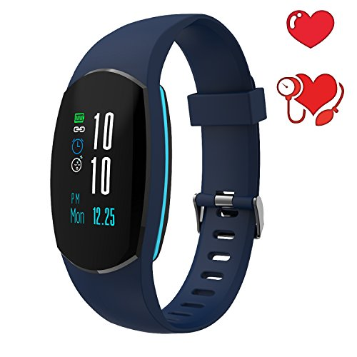COSVII Fitness Tracker Color Screen with Heart Rate Monitor, Pedometer, Blood Pressure Monitor,Sleep Monitor, Calorie Counter, Waterproof Android IOS Smart Watch for Women Men Kids (Blue)