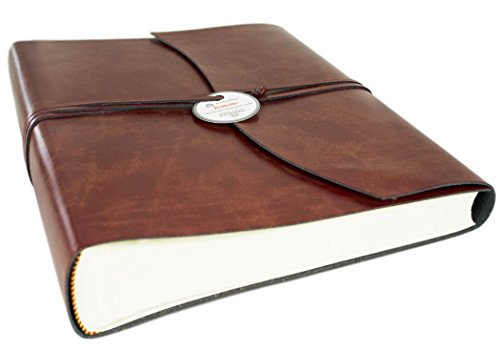 Romano Large Chestnut Handmade Recycled Leather Wrap Photo Album, Classic Style Pages (30cm x 24cm x 6cm) by LEATHERKIND