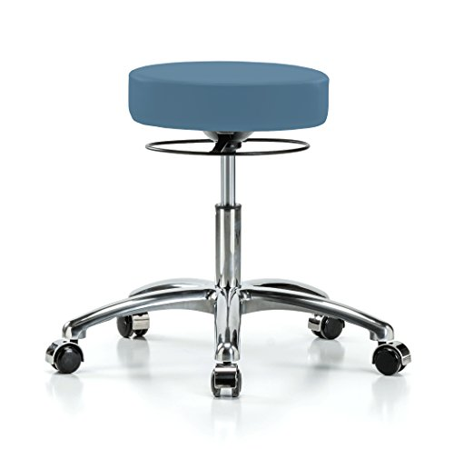 Perch Chrome Stella Rolling Height Adjustable Salon & Spa Stool for Carpet or Linoleum | Desk Height 18.5-24 Inches | 300-Pound Weight Capacity | 12 Year Warranty (Colonial Blue Vinyl)