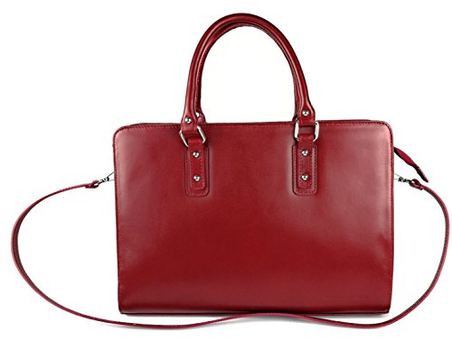 soft Zerimar made with of leather Women Leather and capacity Handbag Red Briefcase large for rBPUqrg
