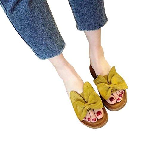 Fheaven Womens Flips Flops Sandals Summer Shoes Cute Rabbit Ears Outdoor Indoor Sandals Slips Yellow m2eSD0X3P