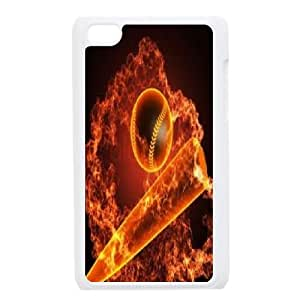 kimcase Custom fire baseball Case Cover for iPod Touch 4
