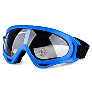 BATFOX Motorcycle Goggles Safety Atv Tactical Riding Motorbike Glasses Uv400 Protection Shatterproof(Clear Lens&Blue Frame)