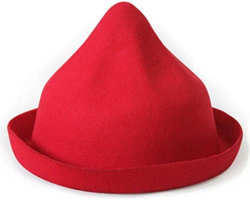 Womens Wool Felt Hat Cone Girls Basin Hats Edge Cap with Autumn Winter
