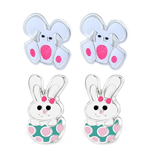 SL de Silver 2pares infantil pendientes conejo Pascua en EI 925plata en caja de regalo