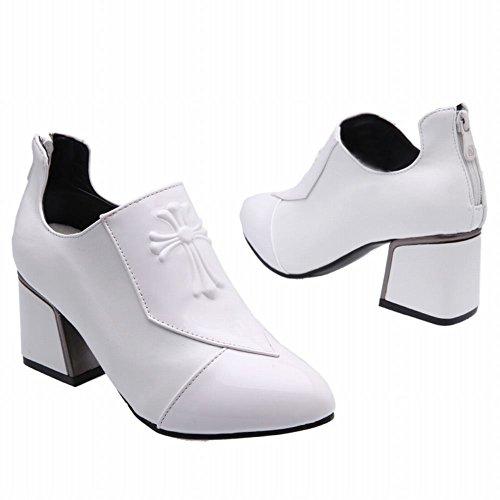 Charm Boot Donna Moda Tacco Grosso Stivaletto Alla Caviglia Bianco