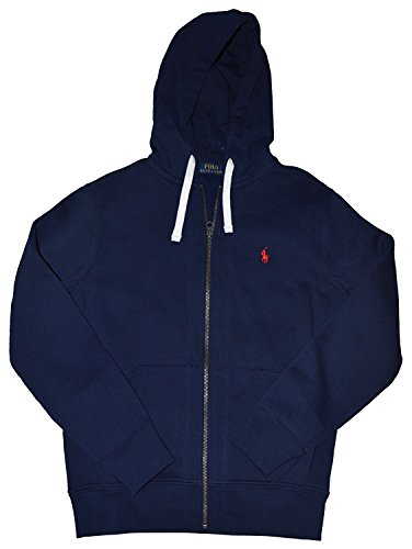 Polo Ralph Lauren Pony Men's Full Zip Hoodie Sweatshirt Cruise Navy Blue (X-Large)