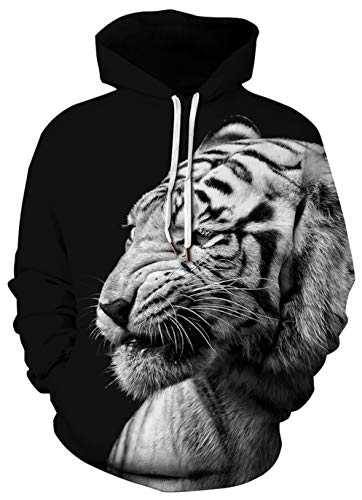 Tiger Athletic Sweatshirt - BarbedRose Unisex 3D Digital Galaxy Pullover Hooded Sweatshirt Athletic Casual,White Tiger,S/M