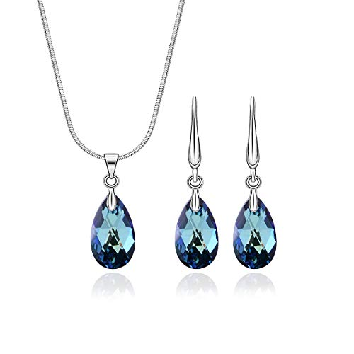 (birthtany Teardrop Jewelry Set for Wedding Sterling Silver Pear Shaped Bermuda Blue Swarovski Crystal CZ Cubic Zirconia Pendant Necklace Earrings Set for Women Girls Bridal Jewelry for Bridesmaids)