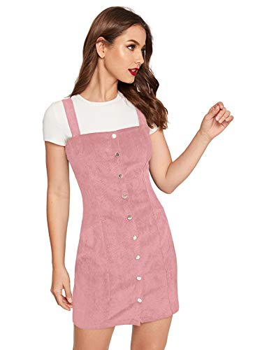 Cute Teen Girl Dresses (Floerns Women's Cute Strap Button up Corduroy Overall Sheath Pinafore Dress Pink)