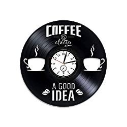 Kovides Coffee Vinyl Record Wall Clock Coffee Clock Coffee Vinyl Wall Clock Coffee Vinyl Clock Gift for Woman Coffee 12 inch Clock Kitchen Decor Coffee Wall Clock Vintage Coffee Xmas Gift for Her