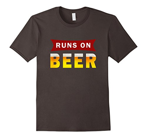 Men's Runs On Beer Funny Running Drinking T-Shirt Large
