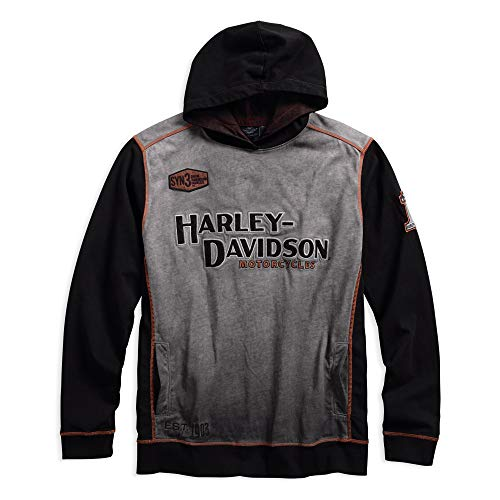 Harley-Davidson Official Men's Iron Block Pullover Hoodie, Grey