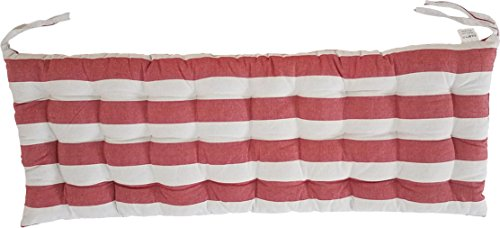 Melange 100% Cotton 44″ x 17″ Bench Cushion, Red Stripes