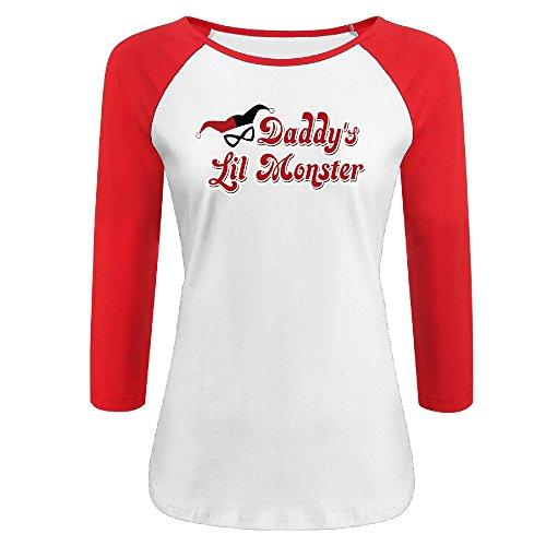 ZHUN Girls Daddy's Lil Monster Harley Quinn Logo 3/4 Sleeve Cotton T-shirt S Red