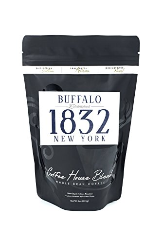 Buffalo, New York - Established Date (Blue) (8oz Whole Bean Small Batch Artisan Coffee - Bold & Strong Medium Dark Roast w/ Artwork) Date Buffalo