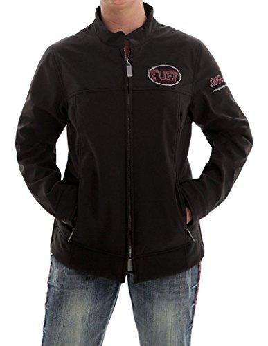 Cowgirl Tuff Western Jacket Womens Microfiber Pockets Zip Black H00449