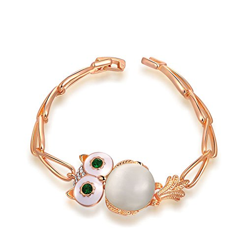 O4U Lovely Opal Owl with Genuine Austrian Green Crystals Eyes Rose Gold Plated Bracelet (Bracelet Genuine Crystal Austrian)