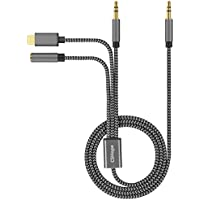 Audio Cable, CSHope 5ft / 1.5m Type C Audio Cable 3.5mm Male Stereo Aux Jack to USB C and 3.5mm Female Aux Jack 3 in 1 Nylon Braided Cable ( Black and Grey)