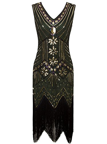 Vijiv Women 1920s Gastby Sequin Art Nouveau Embellished Night Out & Cocktail Dress Green Gold Medium