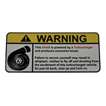 SAAB Turbocharged Engine Type I, warning decal, sticker perfect gift