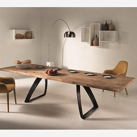 Emporio3 Tavolo allungabile in legno - ST574, Nero goffrato, 90 X ...