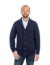 SAOL 100% Merino Wool Mens Aran Cable Shawl-Collar Cardigan
