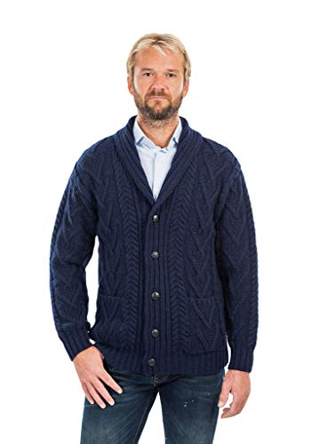(Mens Aran Cable Shawl-Collar Cardigan (Navy,)