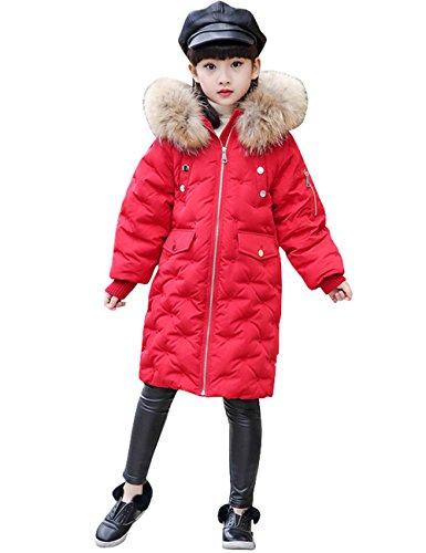 Menschwear Girl's Down Fur Hooded Jacket Winter Warm Outwear Winter Coat (130,Red) by Menschwear