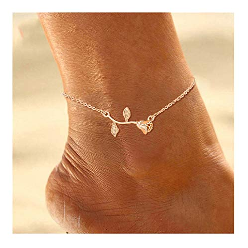 Mocya Minimalist Rose Anklet Gold Tone Flower Anklet Woman Anklet Jewelry Barefoot Chain