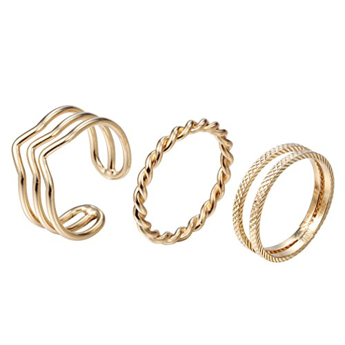 chengxun Jewelry Gold Fill Multilayer Joint Nail Toe Rings Bohemian Above Midi Knuckle Rings Set Adjustable Size