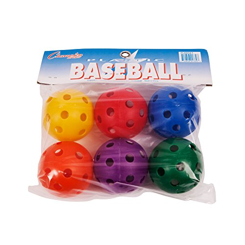 Champion Sports PLBBSET  Multicolored Plastic Baseball Set (Whiffle Ball)