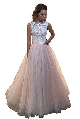 Dressylady Women's A Line Sleeveless Lace Tulle Blush Wedding Prom Dress Quinceanera Gowns(12) (Festa E Halloween 2017)