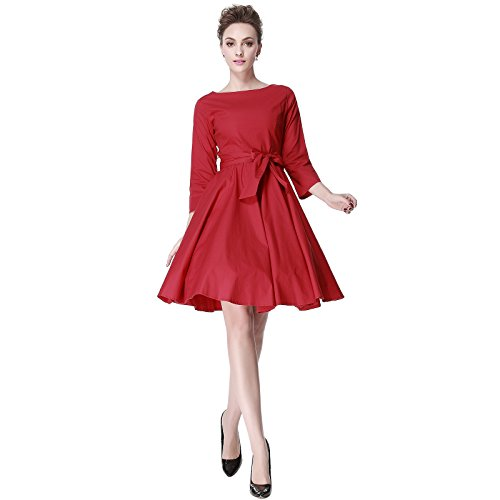 Dress 1960 (Heroecol 50s 60s Hepburn 3/4 Sleeve Style Vintage Retro Swing Rockailly Dresses Size XL Color Red)