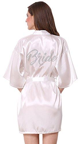 JOYTTON Women's Wedding Party White Satin Kimono Robe with Rhinestone Bride M