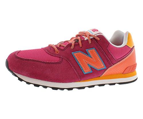 New Balance KL574 Grade Lace-Up Running Shoe (Big Kid),Pink/Orange,7 M US Big Kid ()