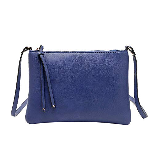 - Clearance Sale! ZOMUSAR Women's PU Leather Pure Color Wristlet Clutch Phone Wallet Mini Crossbody Purse Bag with Card Slots (Blue)